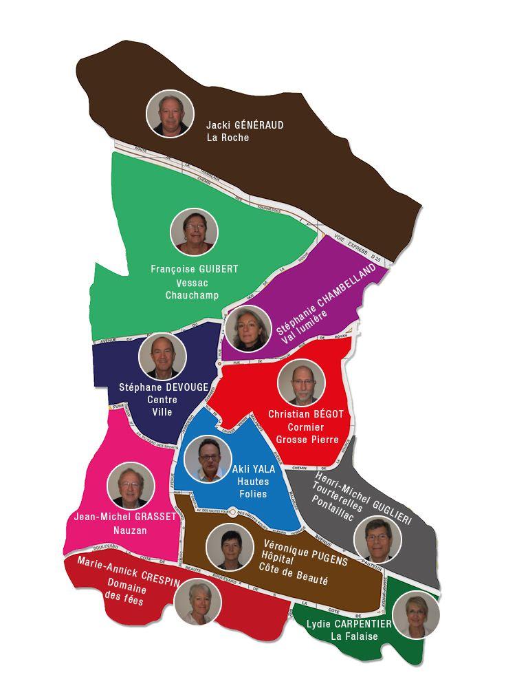 La ville de Vaux-sur-Mer a été divisée en 11 quartiers avec pour chaque quartier un élu référent.